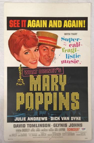 DICK VAN DYKE Signed Original Vintage 1964 MARY POPPINS 12x18 Poster PSA/DNA COA
