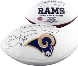 Eric Dickerson Los Angeles Rams Autographed Logo Football with HOF Inscription