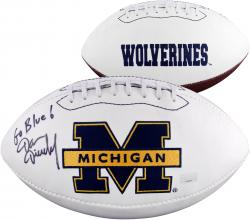 Dan Dierdorf Michigan Wolverines Autographed Logo Football with Go Blue Inscription