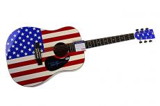 Dierks Bentley Autographed Signed Flag Guitar & Proof UACC PSA