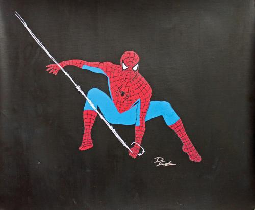 Dietrich O. Smith Signed 20x24 Original Hand Drawn Spider-Man Sketch Canvas 1