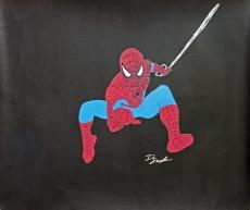 Dietrich O. Smith Signed 20x24 Original Hand Drawn Spider-Man Sketch Canvas