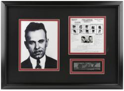 DILLINGER, JOHN FRAMED (MUG SHOT) w/PHOTO/MUG SHOT/PLATE