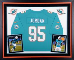 Dion Jordan Miami Dolphins Autographed Deluxe Framed Aqua Nike Game Jersey