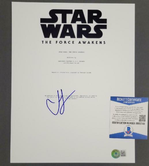 Director JJ Abrams signed Star Wars 8.5x11 Movie Script Cover ~ Beckett BAS COA