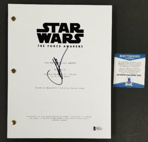 Director JJ Abrams signed Star Wars The Force Awakens FULL Movie Script (E) BAS