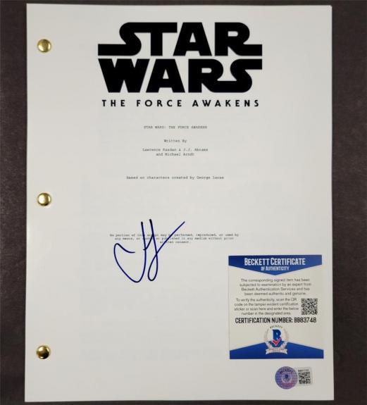 Director JJ Abrams signed Star Wars The Force Awakens FULL Movie Script (G) BAS