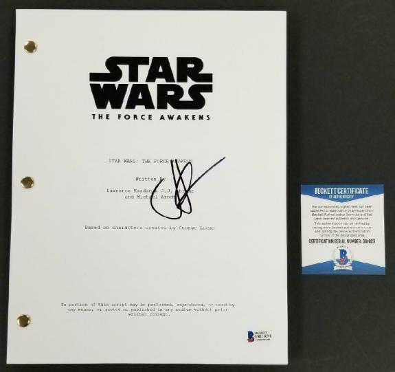 Director JJ Abrams signed Star Wars The Force Awakens FULL Movie Script (H) BAS