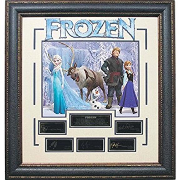 Disney Frozen cast facsimile signed Photo Collage Elsa Anna framed 24x26