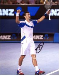 Novak Djokovic Autographed 8'' x 10'' White & Blue Shirt Photograph