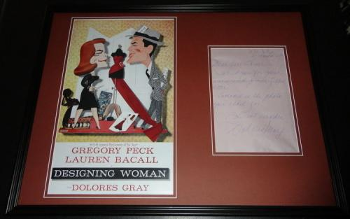 Dolores Gray Signed Framed Handwritten Letter & Designing Woman Poster Display