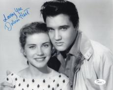DOLORES HART HAND SIGNED 8x10 PHOTO        WITH YOUNG ELVIS PRESLEY         JSA
