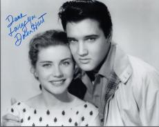 DOLORES HART HAND SIGNED 8x10 PHOTO+COA          WITH ELVIS PRESLEY    TO DAVE