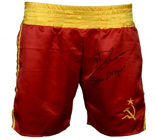 Dolph Lundgren Autographed Red Boxing Trunks with Ivan Drago Inscription  - Beckett COA