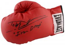 Dolph Lundgren Autographed Red Everlast Boxing Glove with Ivan Drago Inscription - Beckett COA