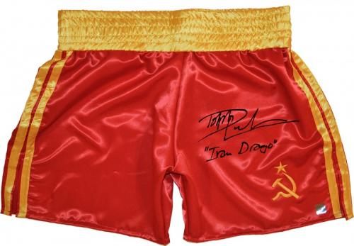 """Dolph Lundgren """"Ivan Drago"""" Signed ROCKY IV Russian Boxing Trunks"""