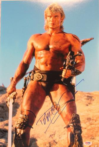 """DOLPH LUNDGREN Signed """"He-Man"""" Masters Of The Universe 12x18 Photo PSA/DNA"""