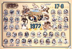 "1972 Miami Dolphins Perfect Season Signed 27"" x 39"" Collage Lithograph-Limited Edition of 500"