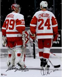 "Dominik Hasek & Chris Chelios Detroit Red Wings Autographed 16"" x 20"" Photograph with HOF Inscriptions"