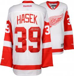 Dominik Hasek Detroit Red Wings Autographed White Reebok Premier Jersey with HOF 2014 Inscription