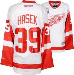 Dominik Hasek Detroit Red Wings Autographed White Reebok Premier Jersey with Multiple Inscriptions
