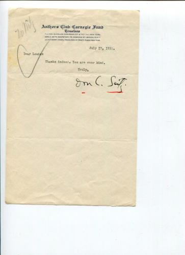Don Carlos Seitz Newspaper Manager New York World York Recorder Signed Autograph
