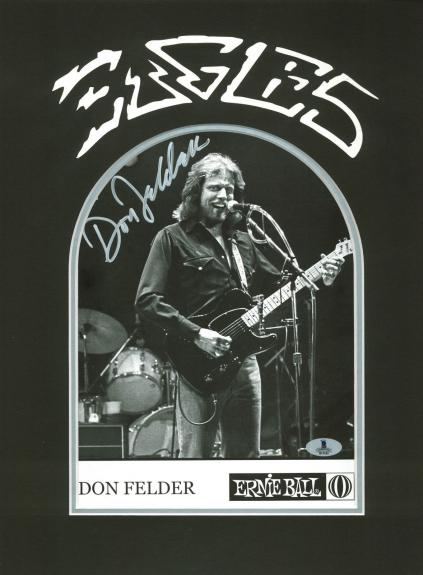 Don Felder The Eagles Signed & Matted B&W 8X10 Photo BAS #B13243