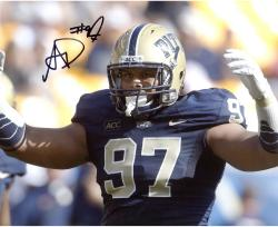 "Aaron Donald Pittsburgh Panthers Autographed 8"" x 10"" Hands Up Photograph"
