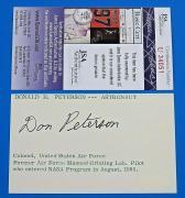 DONALD H. PETERSON SIGNED 3x5 INDEX CARD ~ NASA ASTRONAUT ~ JSA COA U34051