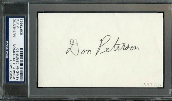 DONALD H. PETERSON SIGNED 3x5 INDEX CARD SLABBED  NASA ASTRONAUT PSA