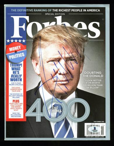 Donald J. Trump Signed Forbes Magazine Autographed BAS #A00370