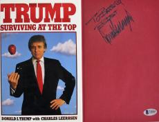 Donald J. Trump Signed Surviving At The Top Hard Cover Book BAS A10295