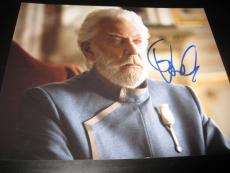 DONALD SUTHERLAND SIGNED AUTOGRAPH 8x10 PHOTO HUNGER GAMES MOCKINGJAY PROMO NY F