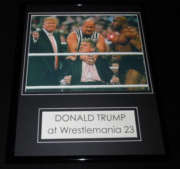 Donald Trump at Wrestlemania 23 Framed 11x14 Photo Display