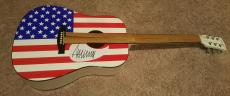 Donald Trump Autographed Full Size American Flag Acoustic Guitar  Signed