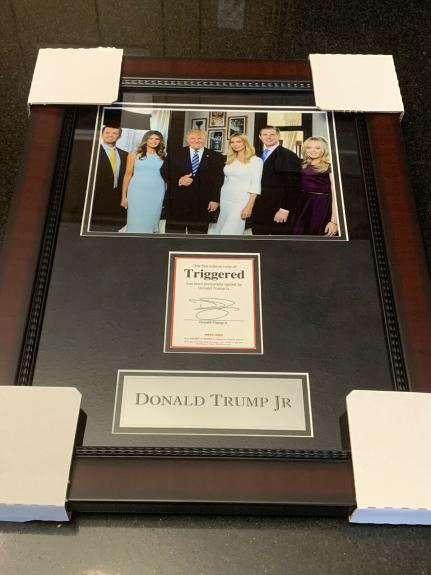 Donald Trump Jr. Autographed Signed TRIGGERED Framed Photo Bookplate 2020