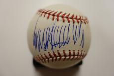 Donald Trump Signed Autographed Omlb Baseball Jsa Coa Blue Ballpoint Full Graph