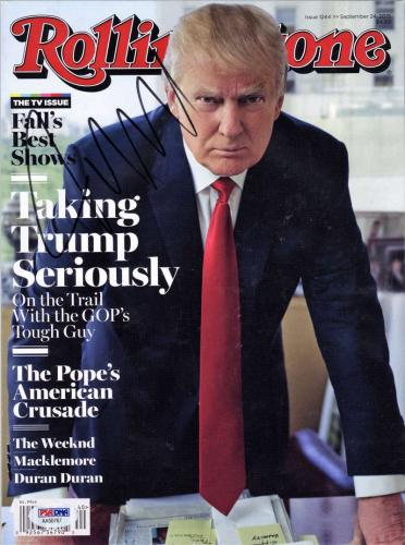 Donald Trump Signed Autographed Rolling Stone Magazine 2015 PSA/DNA Authentic