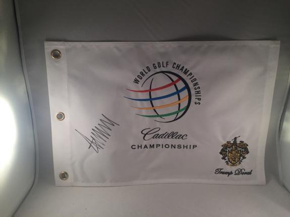 Donald Trump Signed Cadillac Championship Doral Flag Pin Flag Psa Dna Loa