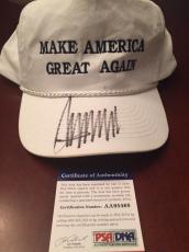 DONALD TRUMP Signed Make America Great Again HAT CAP  PSA DNA COA