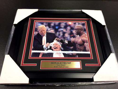 DONALD TRUMP WWE WRESTLEMANIA HAIR MATCH VINCE MCMAHON FRAMED 8x10 PHOTO
