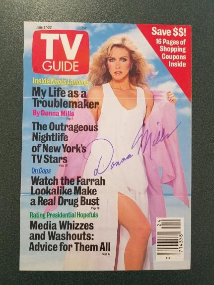 Donna Mills-signed photo TV GUIDE COVER - JSA COA - Pose 4