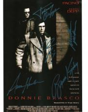 "DONNIE BRASCO"" Signed by AL PACINO, JOHNNY DEPP, MICHAEL MADSEN, BRUNO KIRBY, and ANNE HECHE - 8x10 Color Photo"