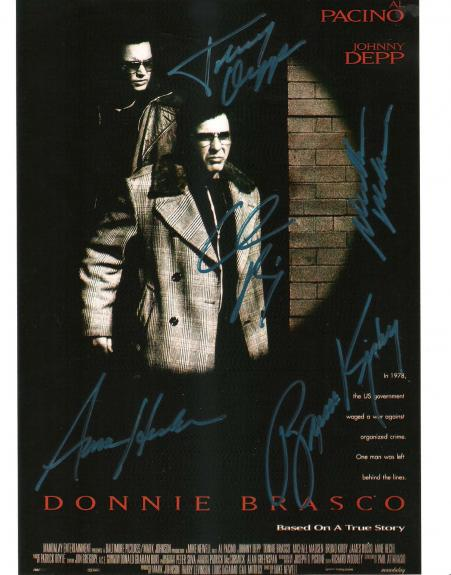 """DONNIE BRASCO"""" Signed by AL PACINO, JOHNNY DEPP, MICHAEL MADSEN, BRUNO KIRBY, and ANNE HECHE - 8x10 Color Photo"""
