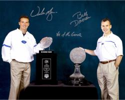Billy Donovan & Urban Meyer Florida Gators Dual Autographed 16'' x 20'' Trophies Photograph with Year of the Gator Inscription - Mounted Memories
