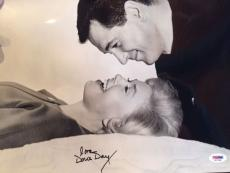 DORIS DAY SIGNED OVERSIZED 11x14 PHOTO      AMAZING POSE WITH ROCK HUDSON    PSA