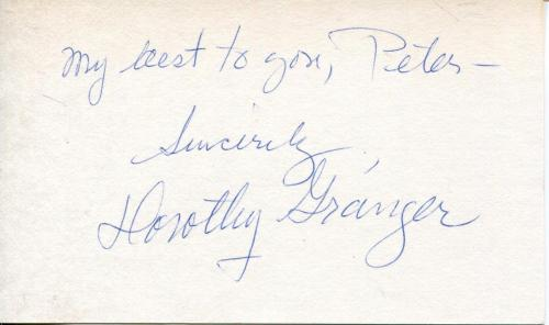Dorothy Granger The 3 Stooges Lucille Ball Co-star Actress Signed Card Autograph