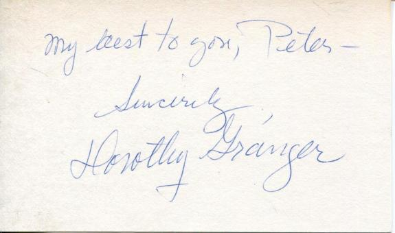 Dorothy Granger Autograph Signed Card The Three Stooges Lucille Ball Co-Star