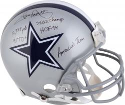 Tony Dorsett Dallas Cowboys Autographed Riddell Pro-Line Authentic Helmet with Multiple Inscriptions - Mounted Memories