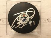 Drake Caggiula Signed Autographed Edmonton Oilers Hockey Puck a